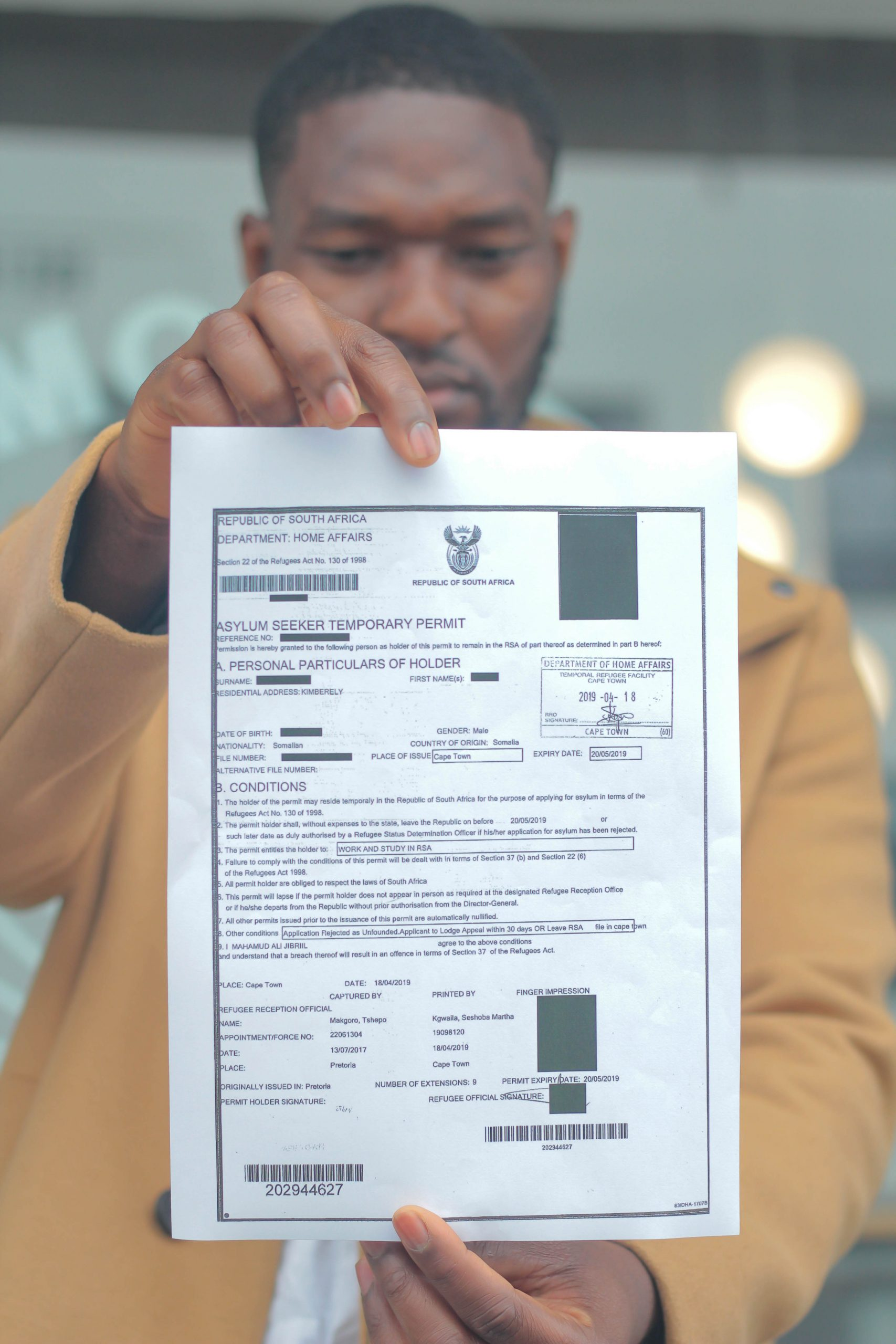 A redacted asylum seeker document Suggested Credit Mukendi Studio Scalabrini