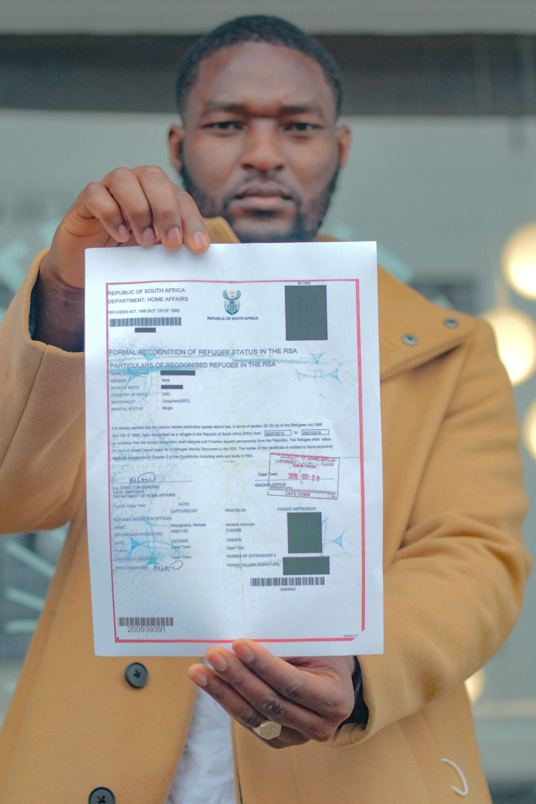 A redacted refugee seeker document Suggested Credit Mukendi Studio Scalabrini