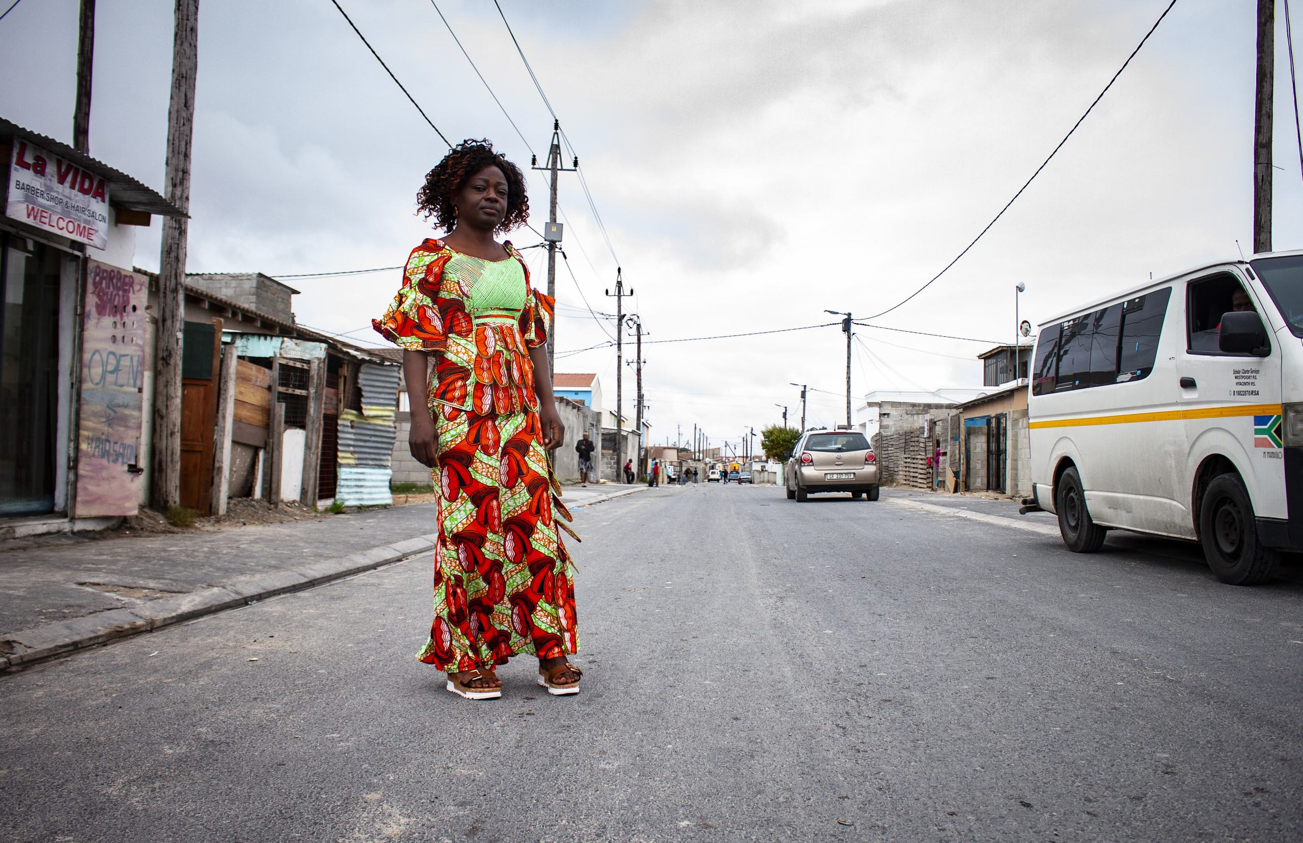 Therese in her neighbourhood, Delft, Cape Town. Suggested Credit Quentin Pichon/ Scalabrini